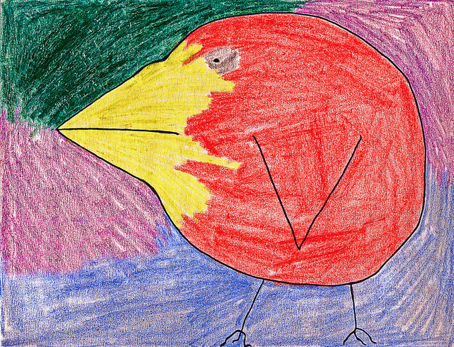 Child's drawing of a red bird with a yellow beak.
